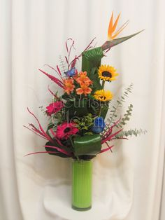 Corbeille funéraire monté dans un vase avec de la mousse florale de couleur Arrangements Funéraires, Language Of Flowers, Paradise, Birds, Vase, Plants, Floral Design, Flower Arrangements, Board