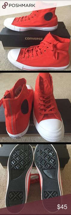 NWT Converse Women=12,Men=10 New Converse. Unisex Men's size 10. Women's size 12. Color is more of an orangey red. Converse Shoes Sneakers