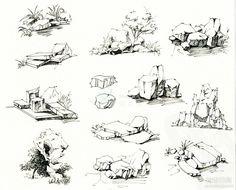 手绘石头及其水景线稿的画法 - 景观手绘...