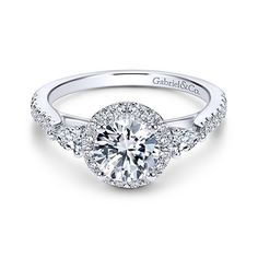 Suzanne 14k White Gold Round 3 Stones Halo Engagement Ring angle 1
