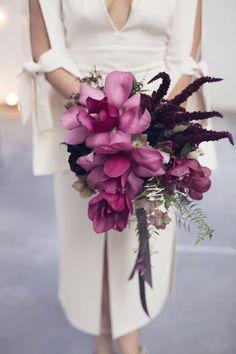 magenta magnolia and amaranth wedding bouquet