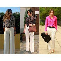 3 looks com calça branca para o trabalho #style #estilo #mulheres #woman # #looks #lookcalçabranca #businesswomen #lelekalle