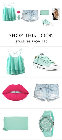 """""""Untitled #48"""" by sara-tadic-1 ❤ liked on Polyvore featuring Converse, Lime Crime, H&M, Kate Spade and Juicy Couture"""