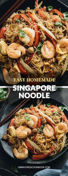 Easy Singapore Noodles (Singapore Mei Fun) - An Authentic recipe that teaches you how to create the best Singapore noodles loaded with shrimp, pork, and eggs, with a flavorful curry sauce. The dish is gluten-free and vegetarian adaptable. #asian #veggie #healthy #stirfry #chinese