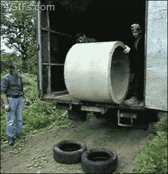 This foolproof plan to move a cement cylinder. | 48 Ideas That Completely Backfired