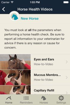 Equine Guelph's Horse Health Tracker App gives you how to video's that help you check you're horse's vital signs.