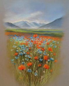 Хочу оказаться там ❤️ #пастельпро с Еленой Таткиной • сухая пастель, бумага Canson Mi-Teintes Touch, A3 -------- I just wanna be there ❤️ Flower field study • Soft dry pastel on Canson Mi-Teintes Touch, A3.
