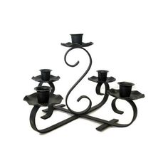Black Candelabra, Wrought Iron, Decorative Metal Work, Vintage Goth... ($14) ❤ liked on Polyvore featuring home, home decor, candles & candleholders, candelabra, etsy, wrought iron, metal candlestick holders, metal candle, wrought iron candle holders and wrought iron candle