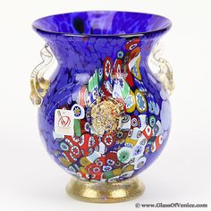 Murano Glass Millefiori Urn Vase with Lion Heads and 24K Gold