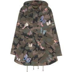 Valentino Embroidered Printed Cotton Coat (€4.550) ❤ liked on Polyvore featuring outerwear, coats, jackets, tops, valentino, multicoloured, cotton coat, camo coat, colorful coat and valentino coat