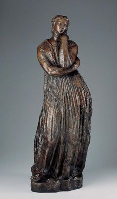 """In Bourdelle's earliest versions of this sculpture, Penelope held a spindle to identify her as the steadfast wife of Odysseus, who, in Homer's epic account of the Trojan War, endures the long absence of her warrior husband by weaving a shroud. In the fully evolved, half-scale Kimbell version, the figure's identity as Penelope is manifest only from the ancient Greek costume and meditative pose. 