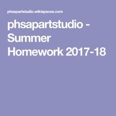 phsapartstudio - Summer Homework 2017-18