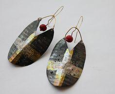 Georgiana Marcu - reclaimed metal shield gold medieval tribal earrings