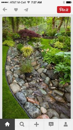 Dry creek bed idea to help with our drainage and looks awesome too!