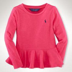Solid Peplum Knit Top - Girls 2-6X Tops & Tees - RalphLauren.com