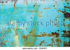 Cracked painted old metal texture, turquoise color - Stock Photo