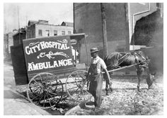 Baltimore's horse drawn ambulance for City Hospital. City Hospital was a forerunner to Mercy Hospital. Baltimore, Maryland. c1890