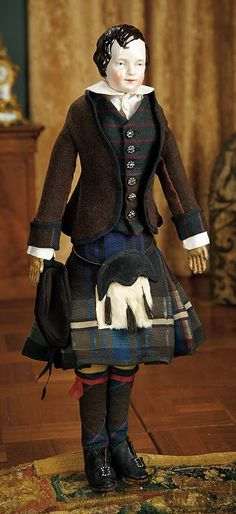"""""""For the Love of the Ladies"""" - October 1-2, 2016 in Phoenix, AZ: 20 Early Period German Porcelain Brown-Haired Lad by KPM in Scottish Costume"""
