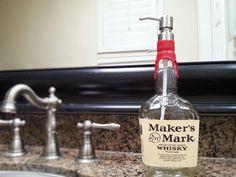 Makers Mark Whisky Soap Dispenser / Whiskey Bottle / Birthday For Him / Glass Soap Dispenser / Bourbon Gifts / Lotion / Bathroom Soap Kitchen Soap Dispenser, Soap Dispensers, Whiskey Dispenser, Alcohol Bottles, Liquor Bottles, Glass Spray Bottle, Glass Bottles, Bourbon Gifts, Whiskey Gifts