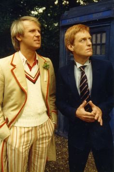 The Doctor (Peter Davison) and his companion, Turlough (Mark Strickson), from the Doctor Who story 'Mawdryn Undead'.