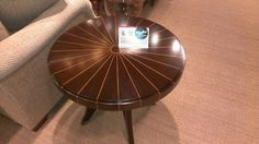 Wood inlaid side table at Pearson. Love the way the inlaid wood goes down the sides, not just the top. #hpmkt