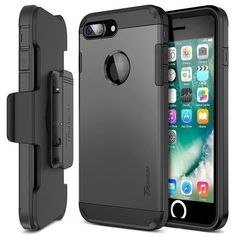iPhone 7 Plus Case, Trianium [Duranium Series] Heavy Duty Protective Cases Shock Absorption Hard Covers w/ Built-in Screen Protector+ Holster Belt Clip Kickstand for Apple iPhone 7 Plus Buy Iphone 7, Best Iphone, Iphone 7 Plus Cases, Apple Iphone, Phone Charger Holder, Walpaper Black, Protective Cases, Screen Protector, Cell Phone Accessories