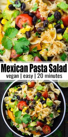 This Mexican pasta salad with avocado, black beans, and lime dressing is one of my new favorites. It's not only super easy to make, but also healthy. It's a great addition to any BBQs and potlucks! Find more vegan recipes at ! Easy Pasta Salad, Pasta Salad Recipes, Healthy Pasta Salad, Lunch Recipes, Mexican Food Recipes, Super Food Recipes, Recipes With Avocado, Baking Recipes, Breakfast And Brunch