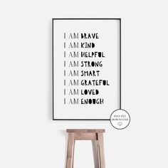 I am Brave Kids Room Affirmations Print Art Inspirational | Etsy