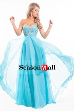 2015 Sweetheart Prom Dresses A-Line/Princess Chiffon With Beads And Ruffles Sweep Train