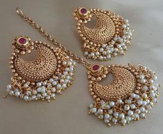 Padmavat Tika / Maang Tika / With Earring / Jewelry / Indian Jewelry / Indian Bridal Jewelry / – Design Tikka Jewelry, Indian Jewelry Earrings, Indian Jewelry Sets, Fancy Jewellery, Jewelry Design Earrings, Indian Wedding Jewelry, Gold Jewellery Design, Stylish Jewelry, Fashion Jewelry