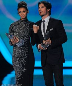 Fan favourites: Nina Dobrev and Ian Somerhalder accepted the People's Choice Awards for Favourite On-Screen Chemistry on Wednesday after bre...