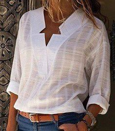 New Fashion Women Star V-Neck Blouse Shirt Long Sleeve Female Sexy Tee Tops Women Cotton Linen Shirt Blusas Feminine Blouses V Neck Blouse, Short Sleeve Blouse, Long Sleeve Shirts, Mode Boho, Mode Outfits, Plus Size Blouses, Types Of Sleeves, Shirt Blouses, Casual Shirts