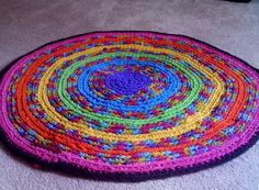 Round Rainbow Rug made from Upcycled Tees