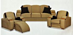 classic deco lounge........unique lounge suite made by deco furniture large range of fabrics to choose from ......fully sprung seats,backs, arms,cushions website www.decofurniture...