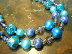 Vintage 2 Strand Granduated Tourquois Color Bead Necklace  -  Japan