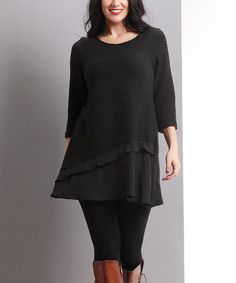 Love this Black Ribbed-Knit Asymmetrical-Hem Tunic - Plus by Reborn Collection on #zulily! #zulilyfinds