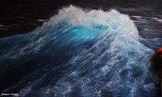 The wave- oil painting print on canvas paper