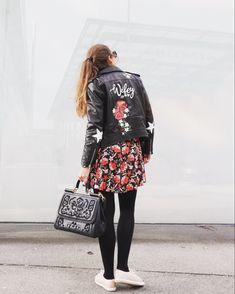 Wifey handpainted flowers wedding leather jacket by Troubelle. Wedding Jacket, Vintage Denim, Custom Made, Cool Designs, Sequin Skirt, Sequins, Leather Jacket, Hand Painted, Skirts