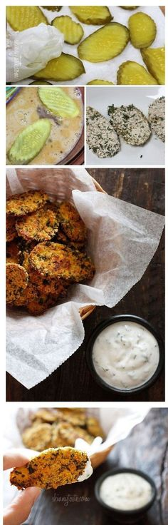 "Oven ""Fried"" Pickles with Skinny Herb Buttermilk Ranch Dip - 14 Clean Eating Snacks 