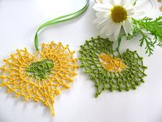 Bright Golden Yellow and Lime Green Heart by MyMothersMother.