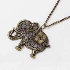 Europe & America Trendy Antique Hollow Out Elephant Pendant Chain Necklace(Bronze) Vintage Style Clothing Chain Accessories LS53