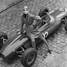 1964 | Jill Kennington with a Lotus Formula One | by Patrick Lichfield | London