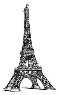 Vintage line drawing of the Eiffel Tower  for digistamp or printable.