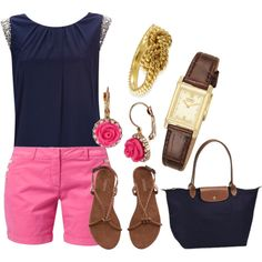 A fashion look from July 2013 featuring blue shirt, Jeckerson and brown sandals. Browse and shop related looks. Brown Sandals, Spring Fashion, Summertime, 21st, Fashion Looks, Navy, My Favorite Things, Polyvore, Pink