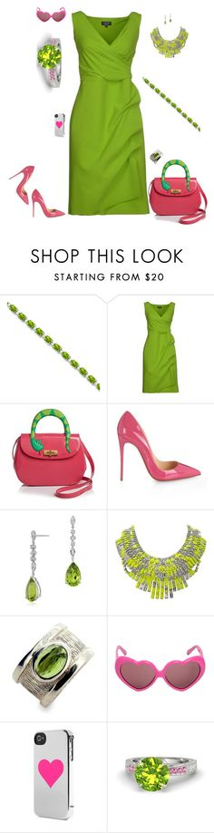 """""""Pink and green - mix the ends"""" by riquee ❤ liked on Polyvore featuring Allurez, La Petite Robe di Chiara Boni, Moschino, Christian Louboutin, Blue Nile, Tom Binns, Incase and Gemvara"""
