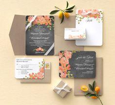 wedding paper divas chalkboard floral bridal invitation suite ribbons
