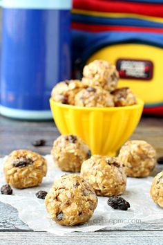 Oatmeal Raisin Energy Balls satisfying bites with healthy ingredients perfect afternoon pick-me-up, lunch box treat or after school snack made in just minutes!
