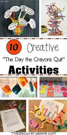 """10 Creative Activities to go with the book """"The Day the Crayons Quit"""" - The Discovery Apple Retelling Activities, Library Activities, Creative Activities, Writing Activities, Preschool Activities, Listening Activities, Learning Games, Preschool Crafts, Crayon Book"""