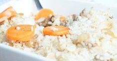 Ovenschotel van winterpeen, gehakt en rijst
