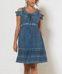 Look what I found on #zulily! Denim Crochet Cutout A-Line Dress - Women #zulilyfinds